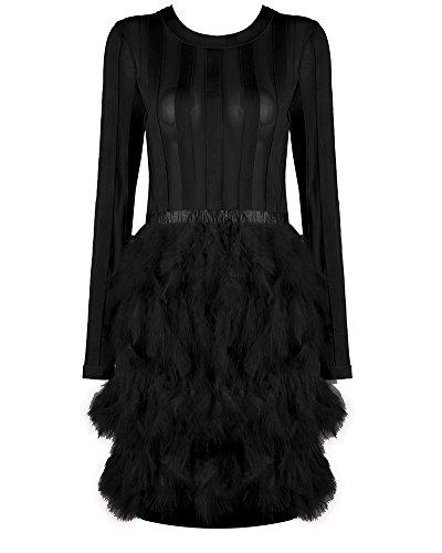 over Kleider Winter Langarm Bandage und Mesh Mode Party Minikleid mit mit Feder (L, Schwarz) (Schwarze Kleider Mit Federn)