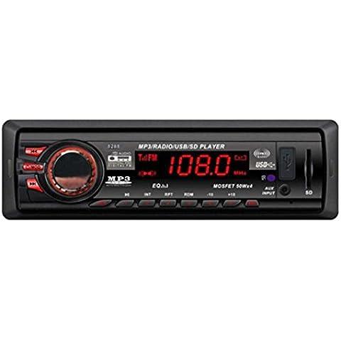 Coche Amplificador de audio, C 'est en Dash coche Audio Estéreo Bluetooth Head Unit 16GB MP3/USB/SD/AUX/FM Entrada AUX Manos libres Bluetooth, construido en micrófono