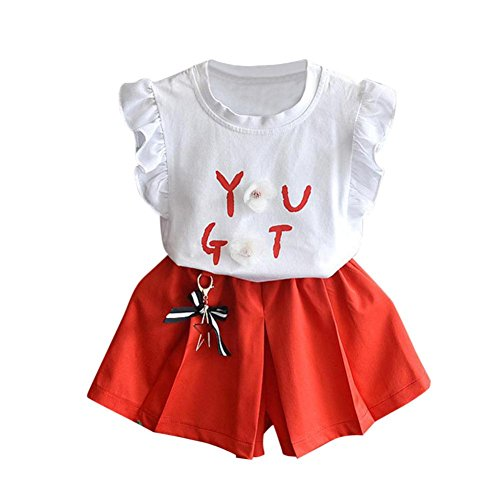 Buimin 2Pcs Loveble Kids Girls Toddler Baby A Flying Sleeve T-Shirt with The 3D Flower Tops and Shorts Set Outfits Wedding Pageant Communion Party