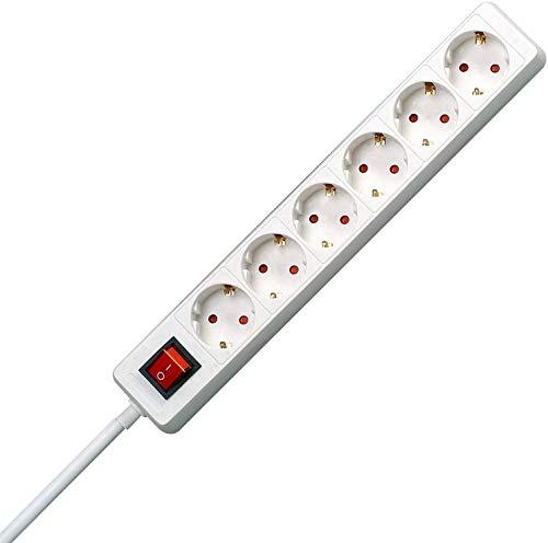 Kopp Steckdosenleiste 6-fach, 1.40 m, 3600W/16A, Mehrfachsteckdose Standard mit Schalter und Schutzkontakt für Eurostecker und Rundstecker, Kinderschutz, Arktis-Weiß, 120913004