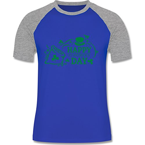 Shirtracer Festival - Happy St. Patricks Day Badge - Herren Baseball Shirt Royalblau/Grau meliert