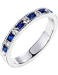 04a9cbb026c4 Diamond Miner Anillo de eternidad de Oro Blanco con zafiros Azules  Naturales de 18 k para Mujeres Bodas