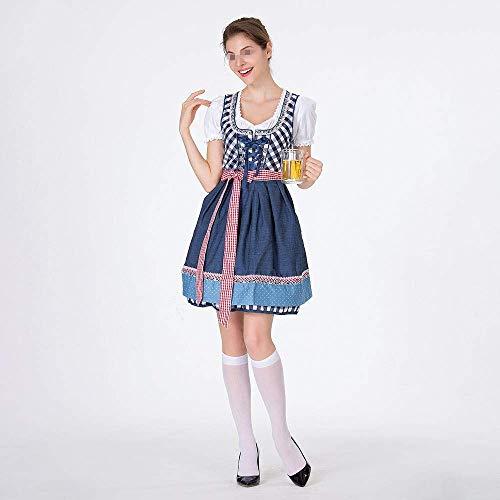 Motto 70's Paare Kostüm - Damai Deutsch traditionelles Bier Kleid Kleid Baumwolle Bestickt Mädchen-Kostüm-Mädchen-Kostüm-Ausstattungs-Partei-Kostüm-Kleid Halloween,Blue-S