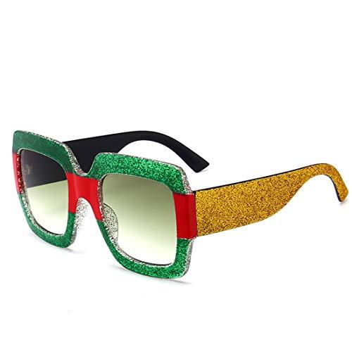 Yiph-Sunglass Sonnenbrillen Mode UV-Schutz-Bunte Rahmen-übergroße quadratische Form-Sonnenbrille für Frauen und Männer. (Farbe : Grün)