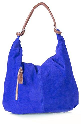 BHBS Frauen echte italienische Wildleder Leder große Hobo-Umhängetasche 50 x 37 x 3 cm (B x H x T) - Cobalt Blue (Cobalt Blue Handtaschen)