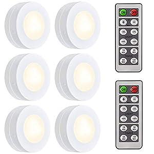 Schrankleuchten LED Nachtlicht mit Fernbedienung, Unterbauleuchten, Kabinett Beleuchtung, Treppen Licht Schrank Lichter für Flur, Schlafzimmer, batteriebetrieben und 3M Klebend, 6er MEHRWEG