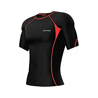 Activo Mens Short Sleeve Compression Top (X-Large, Black/Red)
