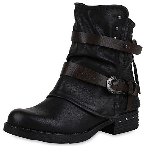 SCARPE VITA Damen Stiefeletten Biker Boots Leicht Gefütterte Booties Schnallen 150199 Schwarz Schnallen Leicht Gefüttert 38
