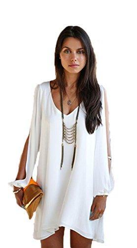 Aimerfeel donne mini abito e partito chiffon abiti da spiaggia con sottoveste di seta in bianco Taglia 40