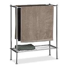 Relaxdays Chrome Holder, 3 Rails, with Shelf, Towel Rack, Sturdy & Stainless, Silver, HWD: 79x64x26 cm