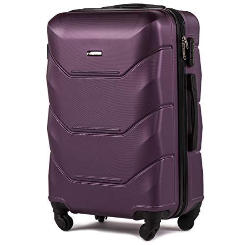 VINCI LUGGAGE Geräumiger Kabinentrolley - Leichter Flugzeugkoffer - Luxuriöser und moderner Koffer mit zweistufigen Teleskopgriff und Kombinationsschloss (Dunkelviolett, M (65x43x26))