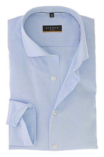 ETERNA long sleeve Shirt SLIM FIT Natté-Stretch structured azzurro chiaro