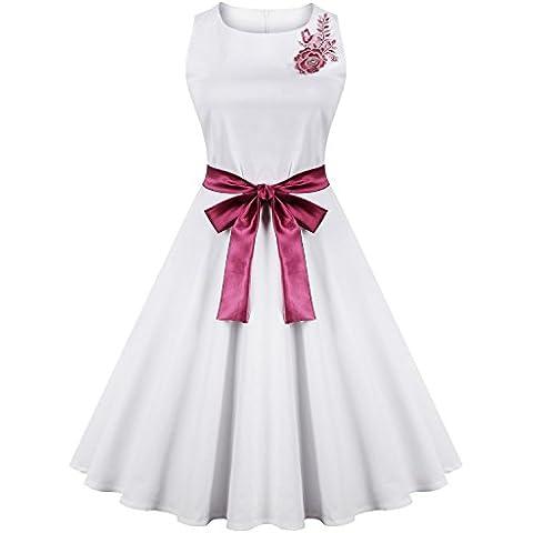 iShine Bordado del Color del Golpe de la Correa del Vestido del Color Sólido de la Vendimia Falda