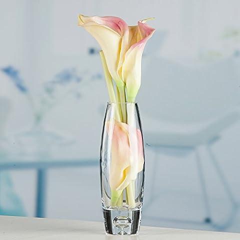 Maivas vase Bouche ronde avec fond de verre bureau coquilles épaississement bulle transparent ovale décoration de table accueil,Petit vase+calla lily répondre