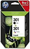 HP N9J72AE 301 Cartucho de Tinta Original, 2 unidades, negro y tricolor (cian, magenta, amarillo)