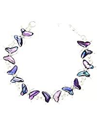 Beautiful Purple Abalone Muschel Butterfly Silver Farbe Bracelet In Gift Box - D