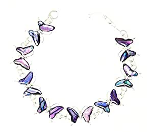 Beautiful Purple Abalone Paua Shell Butterfly Silver Colour Bracelet In Gift Box - D
