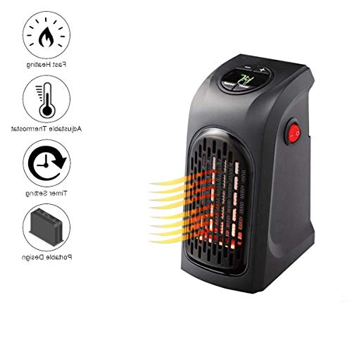 Citra Wall mounted Space Heater 350 W Personal Mini Fan Heater Ceramic Small Heater Adjustable thermostat & Tip Over Protection, Black, for Home, Office, Bedroom