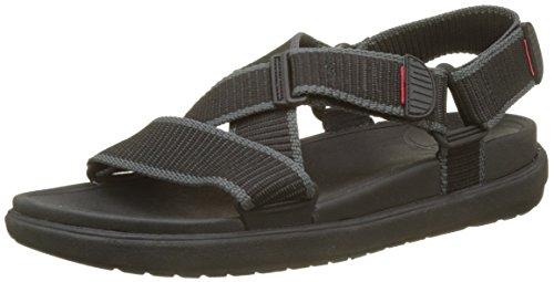 FitFlop Herren Sling II Back-Strap Sandals in Webbing Peeptoe, Schwarz (Black/Charcoal 461), 43 EU