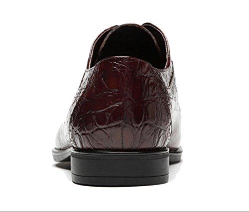 WZG Leder Krokoprägung Lederschuhe der Art und Weise Männer der beiläufigen Schuhe der Männer schnüren Schuhe Hochzeit Schuhe spitz Neue Männer Red