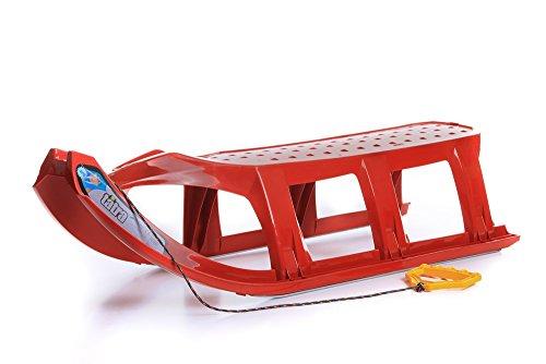 Schlitten Kinderschlitten Rodel aus Kunststoff Zugseil Metallkufen Tatra 3 Farben (Rot)