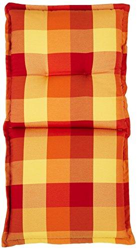 GO-DE 26936-02 Sesselauflage, nieder, circa 102 x 52 x 9 cm, terra/rot Karo