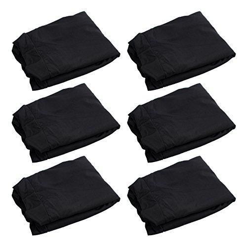 CAMWAY 6 tlg. Stuhlhussen Stretch Stuhlbezug Universal Stuhlüberzug Hochzeit schwarz