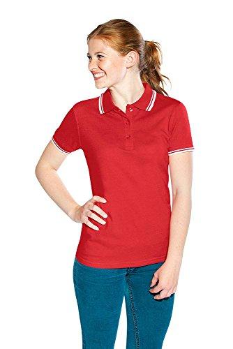 Polo femme à bandes contrastée rouge feu