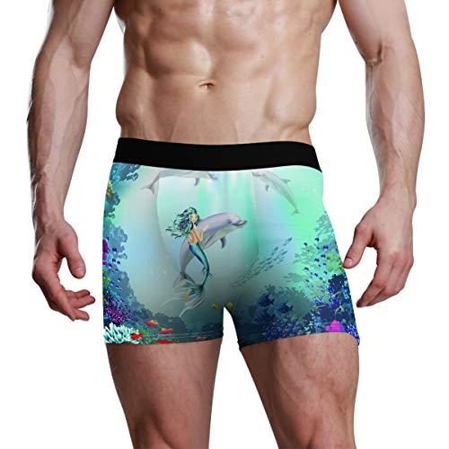 XiangHeFu Herren Boxershorts Unterwasserwelt mit Delfinen und Meerjungfrau Stretch Breathable Unterhosen - Delfine-boxer-shorts