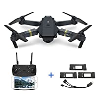 Eachine E58 2MP 720P Wide Angle Camera WIFI FPV Live Video Mobile APP Control Foldable Drone Selfie Pocket RC Quadcopter Helicopter RTF + 1 Cable & 3 Batteries