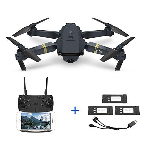 Qinyin E58 2MP 720P Weitwinkel Kamera Wifi FPV Live Video Mobile App Steuerung Faltbare Drohne Selfie Pocket RC Quadcopter Hubschrauber RTF + 1 Kabel & 3 Batterien
