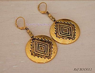Boucles d'oreilles dorées style ethnique chic, solaire, idée cadeau femme