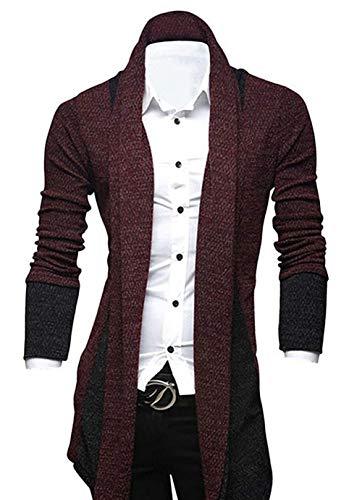 AILIENT Herren Strickjacke Lange Kapuze Offener Pullover Rand Langarm Strickjacke Langarm Hoodie Bequemes Sweatshirt Sweatshirt Übergroße Kapuzenjacke (Color : WineRed, Size : L) (Bequeme Strickjacke)