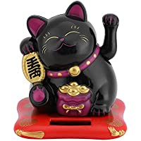 Afortunado Gato, Gato de la fortuna, Gato de la suerte, Fortune Lucky Wealth Acogedor Gato gato con energía solar Cat con Waving Arm Home Display Car Decor(Black)