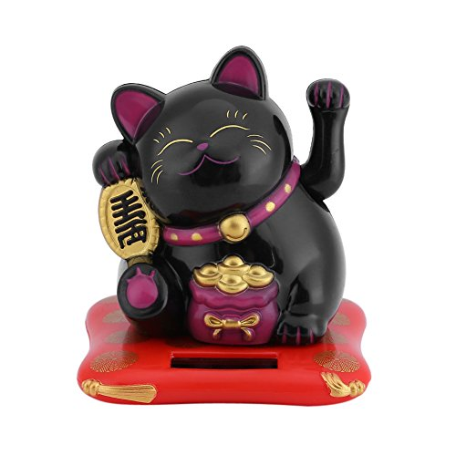 Acogedor Solar Waving Cat Good Luck Cat , benvenuto gatto, decorazione auto, decorazione scrivania, Nero