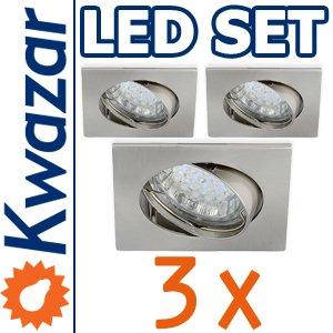 SUPER SET 3er: K-4 Schwenkbares Einbaustrahler + LED Lampe 20p /20W + GU10 Fassung 230V von Kwazar Leuchte