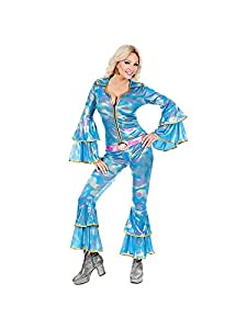 WIDMANN 48422Adultos Disfraz Discoteca Queen, Multicolor (Azul Claro/Rosa), M (talla del fabricante: 38/40)