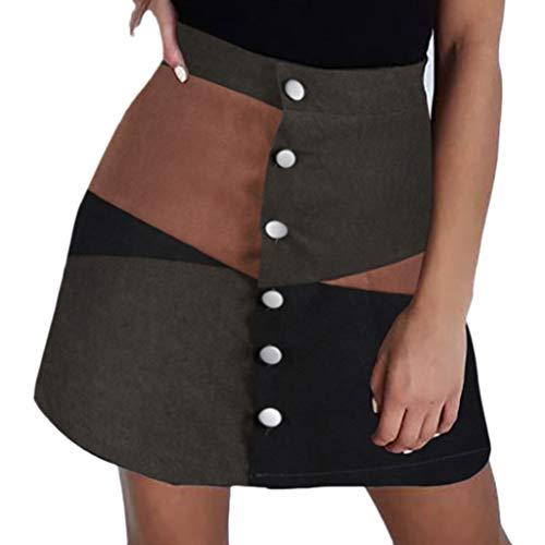 (Mode Frau Beiläufig A Linie Rock Patchwork Farbblock Mini Rock Damen Rock Stoff Rock Button Elastisch Kurz Frauen Mädchen Mode Rock Street Röcke Kurzes Kleid)