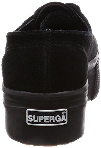 Superga 2790-suew, Pompes à plateforme plate femme Nero (Full Black)