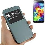 Etui coque avec rabat type book MOTOMO bleu gris avec fenêtre pour Samsung Galaxy S5