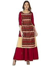 4fc8672f69 Libas Womens Color Blocking Skirt Style Kurti Having a Golden Border &  Adjustable Side dori with