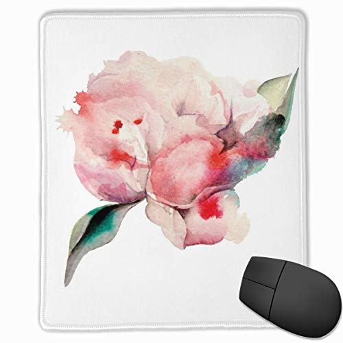 Mouse Mat Stitched Edges, Hand Drawn Watercolor Peonies Realistic Flower In Warm Color Palette Nature,Gaming Mouse Pad Non-Slip Rubber Base -