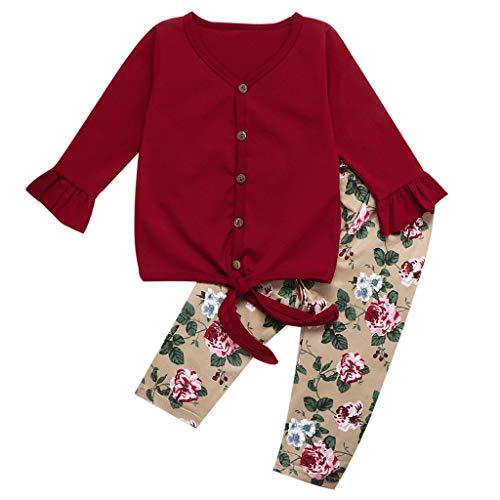 Baby Jungen Kinder Mädchen Schnür Tops Rüschen Ärmel T Shirt Blumendruck Hosen Outfit