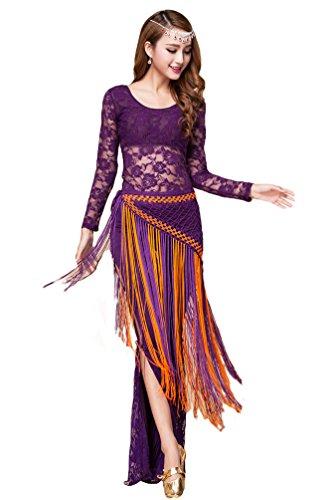 Kostüm Frauen Indischer Tanz - YiJee Damen Bauchtanz Kostüm Tops Spitzen Indischer Tanz Hose Bauchtanz Hüfttuch Violett M