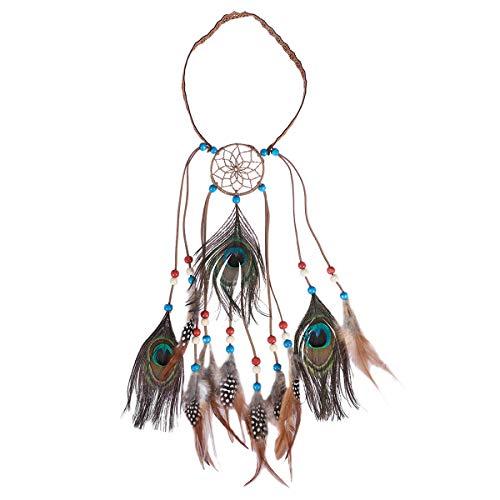 287d18f7463a Frcolor Diadema de plumas hippie con abalorios Boho Banda para el cabello  Festival Headwear Tocado Accesorios