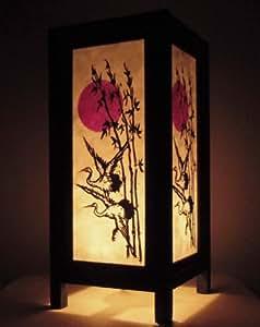 Rare Asie thaï Lampe de Tables Bouddha Style Chevet Soleil Héron Oiseau Par Thaïlande