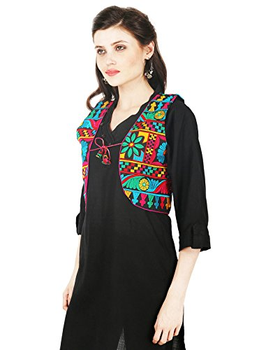Ethnic Embroidered Vastraa Fusion Black Based Cotton Jacket With Piping-Medium