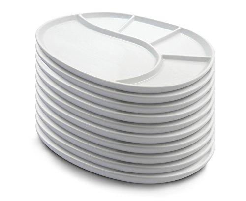 10er SET kela Fondueteller VRONI oval 27 cm in weiß glänzend