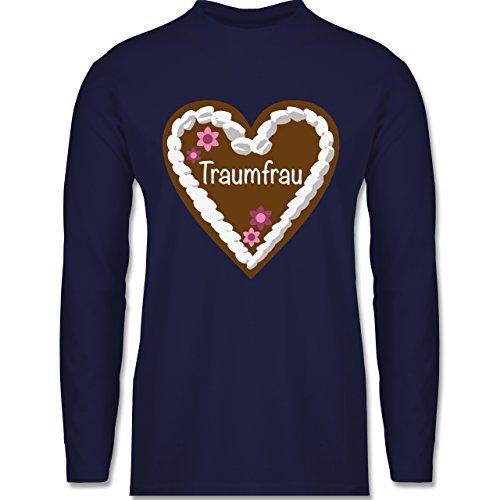 Shirtracer Valentinstag - Lebkuchenherz Traumfrau - Herren Langarmshirt Navy Blau