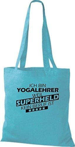 Borsa di stoffa SONO Yogalehrer, WEIL supereroe NESSUN lavoro è Celeste